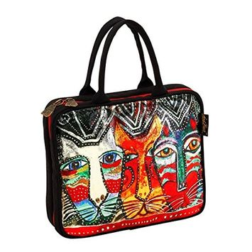 Laurel Burch Gatos Cats Foiled Canvas Cosmetic Travel Tote