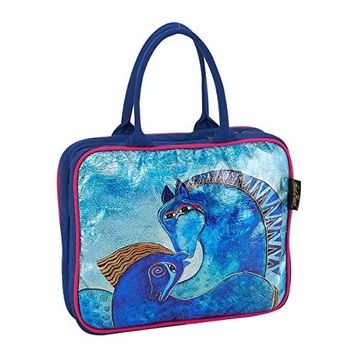 Laurel Burch Teal Mares Foiled Canvas Horse Cosmetic Travel Tote