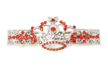 Faship Crown Hair Barrette Clip Red Crystal