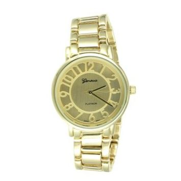 Gold Tone Geneva Watch Round Face Stainless Steel Back Men Women Water Resistant