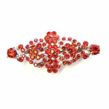 Faship Red Rhinestone Crystal Floral Hair Barrette Clip