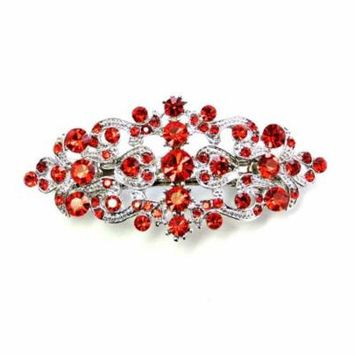 Faship Gorgeous Red Crystal Floral Hair Barrette Clip