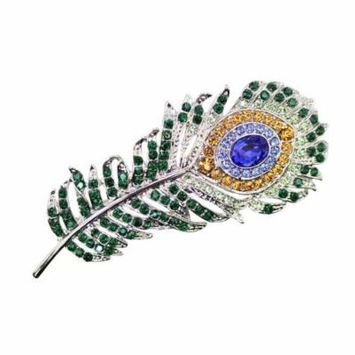 Faship Gorgeous Multicolors Crystal Peacock Feather Hair Barrette