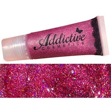 Pink Glitter Lip Gloss FORTUNE TELLER Lip Junkie- Moisturizing and Waterproof- Non Sticky Vegan Friendly and Cruelty Free Formula- Made in the USA
