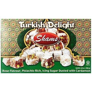 Shams Turkish Delight, Rose/Pistachio/Cardamom, 8.8-Ounce Box (Pack of 1)