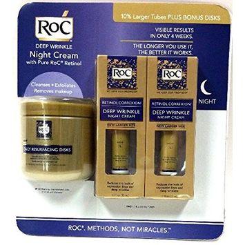 RoC Deep Wrinkle Night Cream - 2 pack of 1.1 fl oz (33 ml) + Bonus Daily Resurfacing Disks