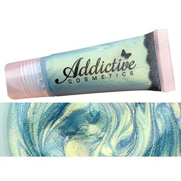 Blue Green Lip Gloss by Addictive Cosmetics- Moisturizing and Waterproof- Non Sticky Vegan Friendly and Cruelty Free Formula- Made in the USA- ROBINS EGG