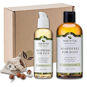 SPRING ONLY - Real, Organic Face And Body Bath Set. The Only pH 5.5 Balanced Shower Set For Sensitive Skin. Natural Bath Gift Sets For Women. Comes With Real Wild Soapberries - Unscented [Special Unscented Face & Body Wash Combo]