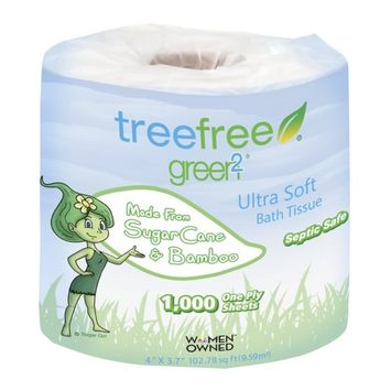 Green2 100% Tree Free 1000-Sheet 1-Ply Bathroom Tissue, 96 Count [1000-Sheet 1-Ply]