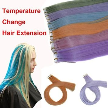 Hair Extensions - Fheaven Women Temperature Change Colorful Straight Hair Extension Hairpieces