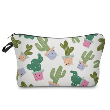 Cool Cactus Print Zippered Cosmetic Bag