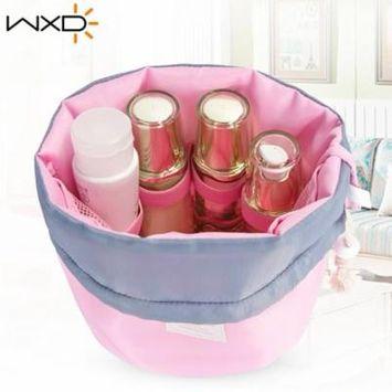 Pink Barrel Shaped Travel Cosmetic Bag Drawstring Waterproof Makeup Bag Organizer