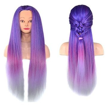 Training Head for Hair Salon, Fheaven Colorful Hair Styling Wig Practice Training Head Mannequin Hairdressing