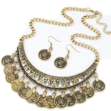 Alloy Necklaces Earrings , Fheaven Vintage Chokers Necklaces Ethnic Carved Coins Nice Necklaces&Earrings (G