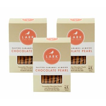 Salted Caramel Almond Chocolate Pearl Cookies by Lark Fine Foods - Pack of 3 [Salted Caramel Almond Chocolate Pearl]