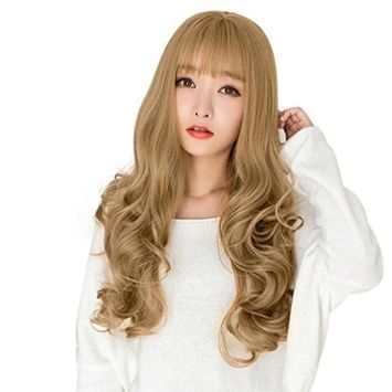 Long Curly Hair - Fheaven Women's Sexy Fashion Bangs Wavy Curly Long Hair Full Cosplay Party Wig (g
