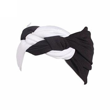 Fheaven Women Ladies Boho Braided Strap Turban Head Warp Hair Band Sports Wide Elastic Headband