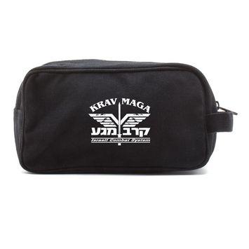Krav Maga Israeli Combat System Martial Arts Canvas Shower Kit Travel Toiletry Bag Case in Black & White [name: actual_color value: actual_color-black&white]