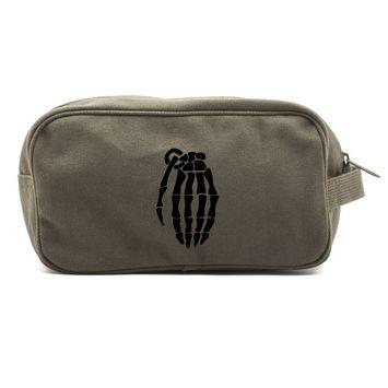 Skeleton Hand Grenade Canvas Shower Kit Travel Toiletry Bag Case