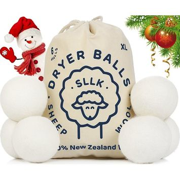 Wool Dryer Balls - Exсlusive New 2018 - Best Wool Balls - Clothes Dryer Balls - Eco Laundry Balls - Wool Dryer Sheets - Pack 6 Organic New Zealand Wool Safer Alternative Effective Fast Drying White