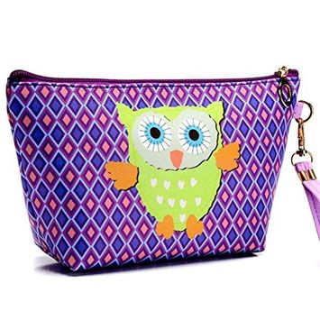 Aurorax Women Portable Owl Cosmetic Case Pouch Zip Toiletry Organizer Travel Makeup Clutch Bag