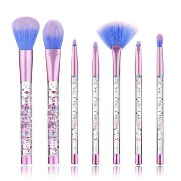 7 PCS Makeup Brushes Set + Bag, Aisikasi Liquid Sequins Synthetic Kabuki Foundation Blending Blush Eyeliner Face Powder Makeup Brush Kit Beauty Cosmetic Tools