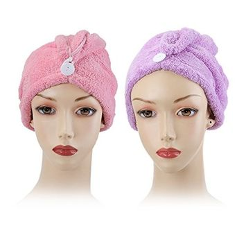 Shintop 2 Pack Dry Hair Cap, Super Absorbent Microfiber Hair Drying Towel for Bath, Spa, Makeup (Purple+ Pink)