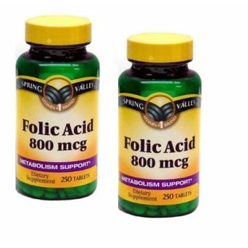 Spring Valley Folic Acid, 800 Mcg, 250 Tablets Per Bottle (2 Bottles)