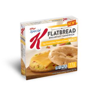 Special K® Kellogg's Egg, Uncured Ham, Peppers & Cheese Medley Flatbread Breakfast Sandwich