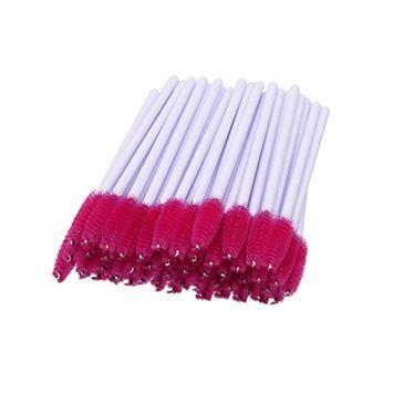 Makeup Brush, Sandistore 50pcs/lot Disposable Eyelash Eye Lash Makeup Brush Mascara Wands Applicator Makeup Kits Mascara Applicator Wand Brush (Red)