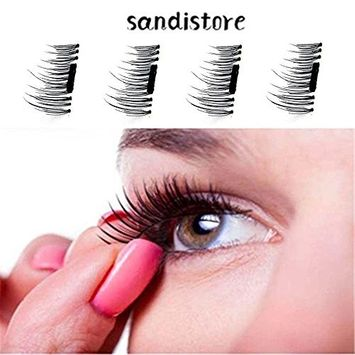 False Magnetic Eyelashes by Sandistore, 1 Pair 4 Pieces 0.5mm Ultra Thin Fake Mink Eyelashes for Natural Look | Reusable Best Fake Lashes | Cruelty Free | Perfect for Deep Set Eyes