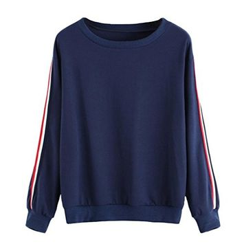 Women's Sweatshirt Casual Long Sleeve Stripe Tops O-Neck Pullover Blouse by Fheaven