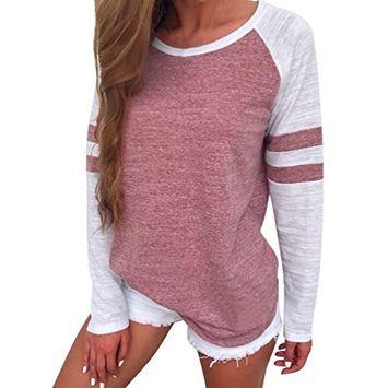 Women Ladies Long Sleeve Splice Blouse Tops Strip Clothes T Shirt