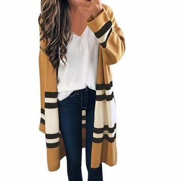 Women Autumn Winter Long Sleeve Loose Casual Striped Sweater Open Front Cardigan Coat (Free Size, Khaki)
