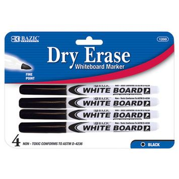 BAZIC Black Fine Tip Dry-Erase Marker (4/Pack)(Case of 144)