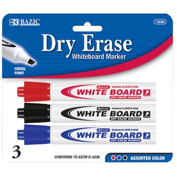 Bazic 1250-144 Assorted Color Chisel Tip Dry-Erase Markers