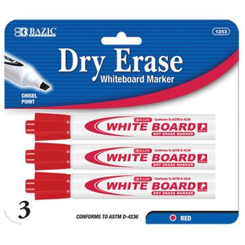 BAZIC Red Chisel Tip Dry-Erase Markers (3/Pack)(Case of 144)