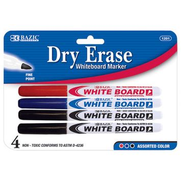 Bazic 1201-24 Assorted Color Fine Tip Dry-Erase Markers