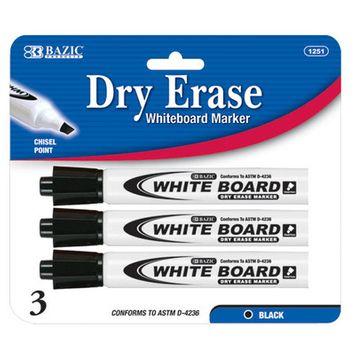 BAZIC Black Chisel Tip Dry-Erase Markers (3/Pack)(Case of 144)