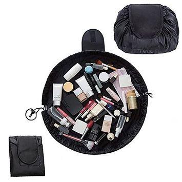 Lemoncy Lazy Portable Makeup Bag Waterproof Drawstring Cosmetic Bag Makeup Storage Organizer Large Capacity Travel Makeup Pouch Perfect for Women & Girls