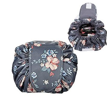Lemoncy Lazy Portable Makeup Bag Waterproof Drawstring Cosmetic Bag Makeup Storage Organizer Large Capacity Travel Makeup Pouch Perfect Gift for Women & Girls