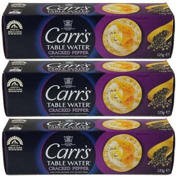 Carrs Table Water Crackers Cracked Pepper, (4.40-Ounce 125gm) (Pack of 3)