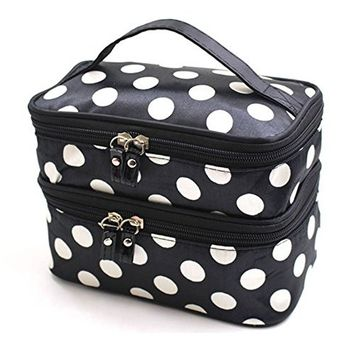 Lemoncy 2 Layer Traveling Makeup Bag Small Dot Pattern With Mirror Portable Waterproof Cosmetic Bag MakeUp Case Portable Durable With Dual Zipper Holder Travel Toiletry Bag Organizer (Black white)