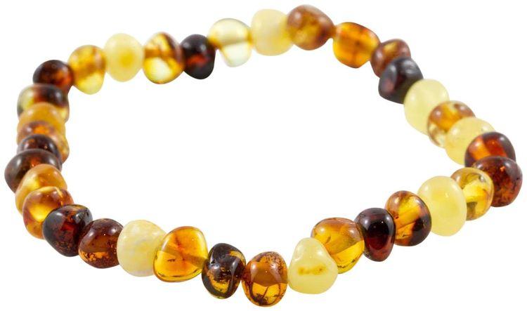 "Healing Hazel 100% Baltic Amber Adult Elastic Bracelet - Multi Polished 7"" - 1 ct."