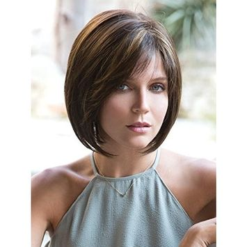 Jolie Wig Color Auburn Sugar Rooted - Noriko Wigs Short Modern Bob Monofilament Top Synthetic Side Part
