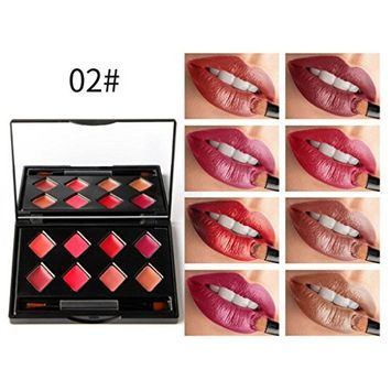 Women Lip Gloss Palette, Lotus.flower 8 Colors Velvety Matte Lipstick Moisturizing & Long-lasting Lip Color Charming Face Cosmetics Set Makeup Tool