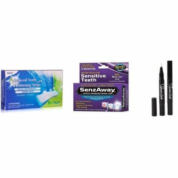 3D Teeth Whitening Strips Advanced Cleaning 28 Count - No Tooth Sensitivity Senz-Away + Whitening Pens 2 PACK