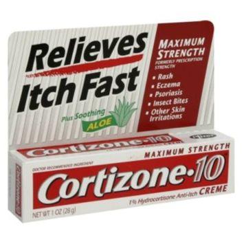 Cortizone-10 1% Hydrocortisone Anti-Itch Creme Plus Soothing Aloe, Maximum Strength, 1 oz (28 g)