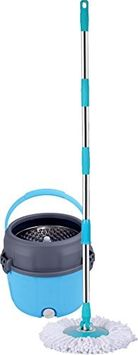 MopDash© Space Saving 'Extreme' Spin Mop and Bucket, No Foot Pedal Needed. With Extra Mop-Head and Scrub Brush Included. (Stainless Steel)