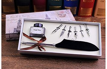 Ue Fashion Peacock Feather Pen, Luxury Antique Feather Writing Quill Pen (silver)